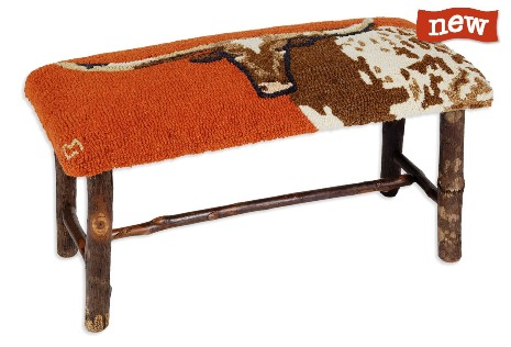 Modern Rustic Furniture, Steer Hickory Bench