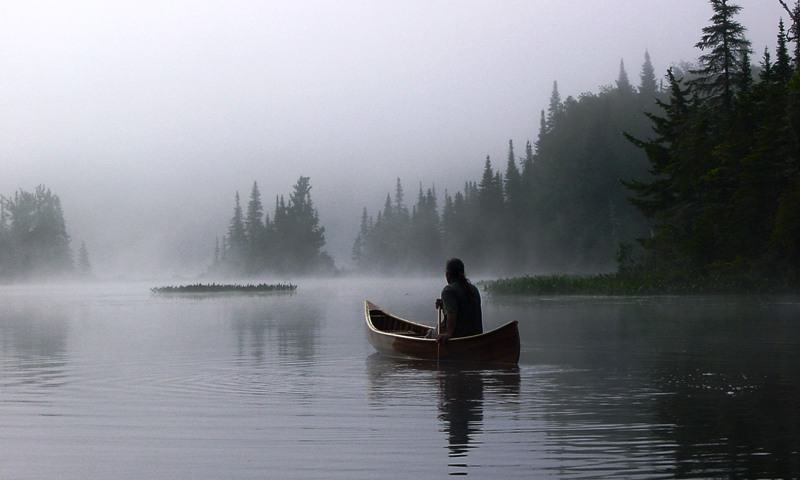 Red Cedar Sliver Canoe, Early morning paddle on Indian Lake