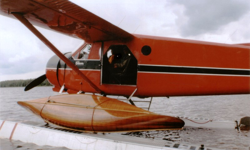 Red Cedar Trader Canoe, strapped to a Beaver float plane