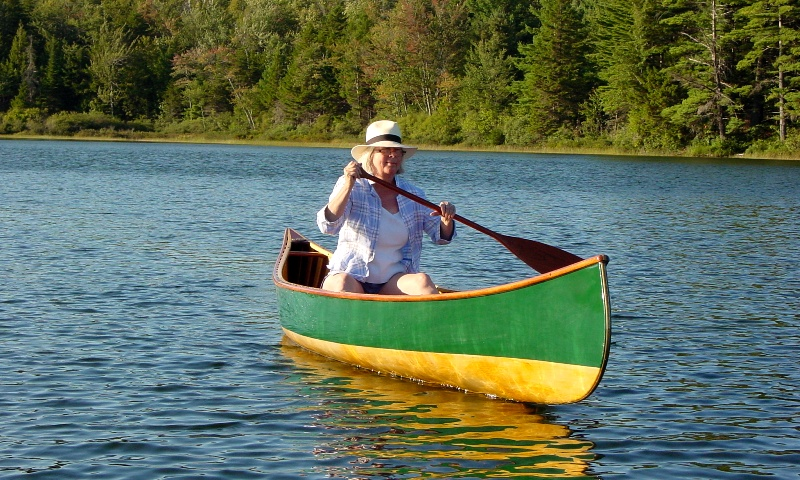 Algonquin Canoe, Green and Schellac finish, a sunny afternoon on South Pond