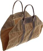 American Traders Log Carrier Made from Waxed Canvas and Leather